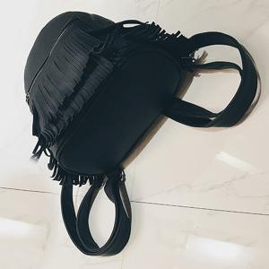 Faux Leather Fringe Backpack -