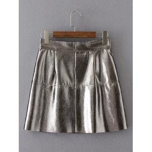 Single-Breasted PU Leather A-Line Skirt -