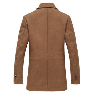 Turndown Collar Single Breasted Longline Wool Coat - CAMEL 3XL