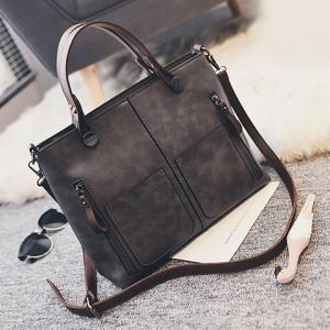 PU Leather Multi Zips Tote Handbag -