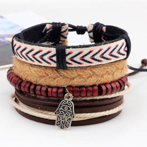 Layered Palm Bead Braided Bracelet - BROWN