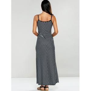 Spaghetti Strap Striped Jersey Maxi Dress - STRIPE L