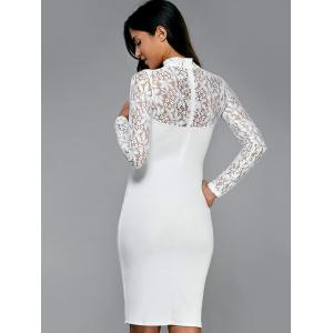 Lace Insert Long Sleeve Pencil Dress -