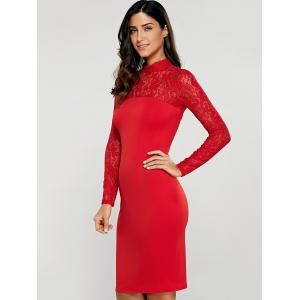Lace Insert Long Sleeve Pencil Dress - RED S