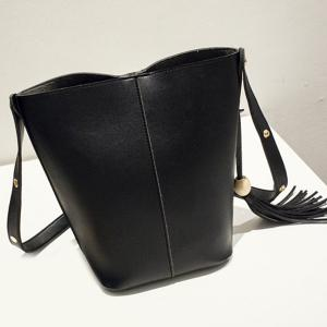 Bead Snap Closure Tassels Shoulder Bag - BLACK