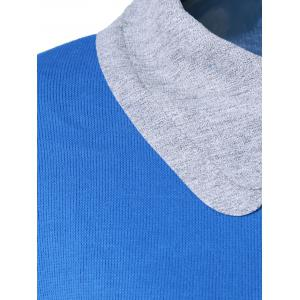 Peter Pan Collar Zipper Design T-Shirt - BLUE 5XL