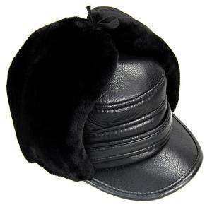 Outdoor Faux Fur and Earmuff Design PU Military Hat -