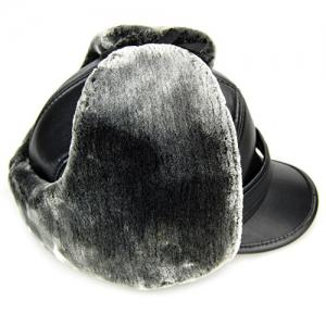 Outdoor Faux Fur and Earmuff Design Stripy PU Military Hat -