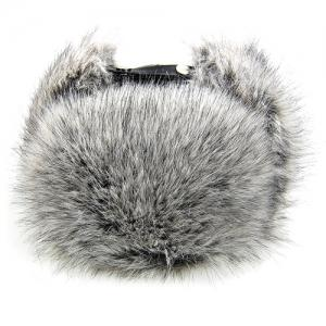 Outdoor Fluffy Faux Fur and Button Embellished PU Lei Feng Hat -
