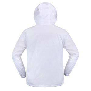 Elastic Cuff Paint Pattern Print Hooded Zip Up Jacket - WHITE XL