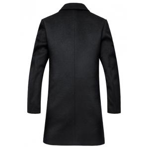 Lapel Longline Single Breasted Wool Coat - BLACK 3XL