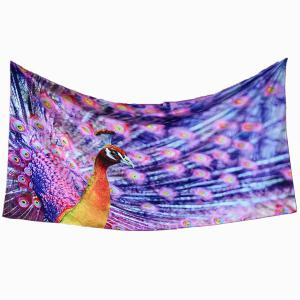 Peacock Shows Its Tail Rectangle Scarf - PURPLE