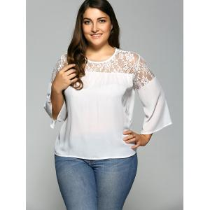 Lace Spliced Plus Size Chiffon Sheer Blouse - WHITE 4XL