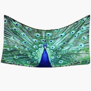 Blue Peafowl Rectangle Scarf - GREEN