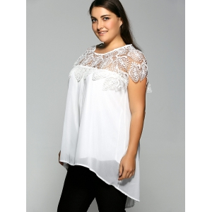 Lace Spliced Plus Size Chiffon High Low Blouse -