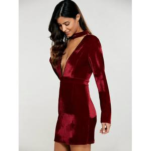 Velvet Long Sleeve Choker Bodycon Dress - DEEP RED XL