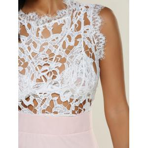 Openwork Lace Patchwork Chiffon Dress -
