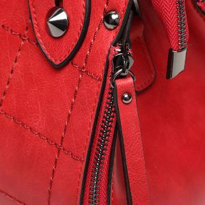 Grid Stitching Lock Embellished Tote -