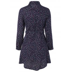Tiny Floral Print Long Sleeve Shirt Dress -