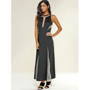 Mesh Patchwork See-Through Maxi Dress -