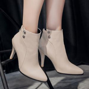 Pointed Toe Faux Leather Back Zip Boots -