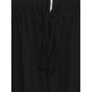 Asymmetric Drawstring Tied-Up Blouse - BLACK 6XL
