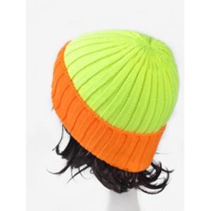 Character Fluorescence Color Block Knitted Hat - FLUORESCENT YELLOW