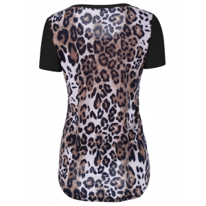 Single Pocket Leopard Asymmetrical T-Shirt - BLACK 5XL