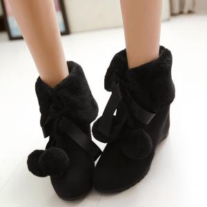 Pompon Tie Up Hidden Wedge Ankle Boots - BLACK 41