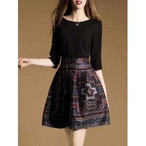 3/4 Sleeve Tribal Print Mini Flare Dress - BLACK 2XL