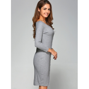 Button-Down Ribbed Bodycon Dress - GRAY L