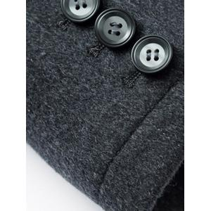 Stand Collar Slimming Single-Breasted Woolen Coat - GRAY 2XL