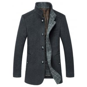 Stand Collar Slimming Single-Breasted Woolen Coat - GRAY 3XL