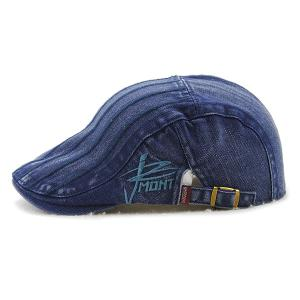 Fall Vertical Stripe and Letter Embroidery Cabbie Hat - BLUE
