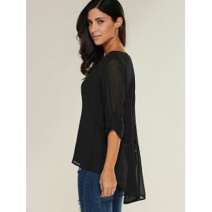 V Neck See-Through Blouse - BLACK M