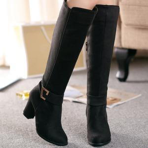 Zipper Metal Dark Colour Boots -