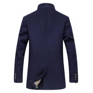 Stand Collar Embroidery Zip-Up Woolen Coat - CADETBLUE 3XL