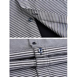 Stripes Printed Short Sleeve Shirt - COLORMIX 2XL