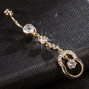 Rhinestone Layered Navel Button - GOLDEN