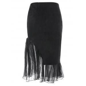 Tulle Insert Faux Suede Skirt - BLACK L