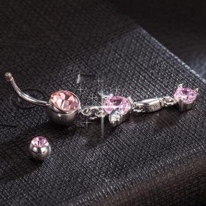 Rhinestone Layered Angel Wings Navel Button - PINK