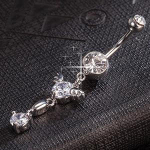 Rhinestone Layered Angel Wings Belly Button Jewelry -