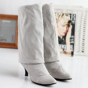 Flock Kitten Heel Round Toe Thigh Boots - LIGHT GRAY 41