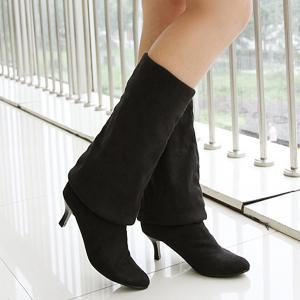 Flock Kitten Heel Round Toe Thigh Boots -