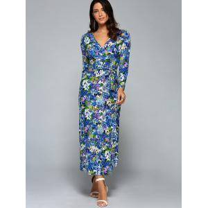 Plunge Neck Long Sleeve Printed Maxi Dress - BLUE XL