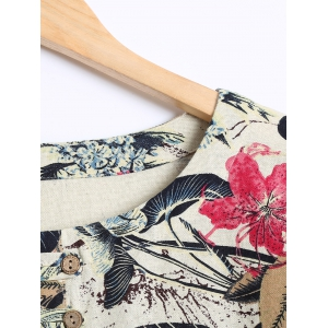 Buttoned Blossom Print Loose Blouse -