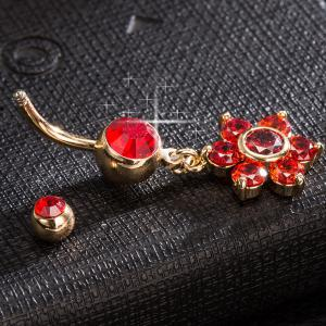 Layered strass Fleur Nombril Bouton - Rouge