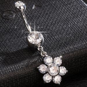 Layered strass Fleur Nombril Bouton -