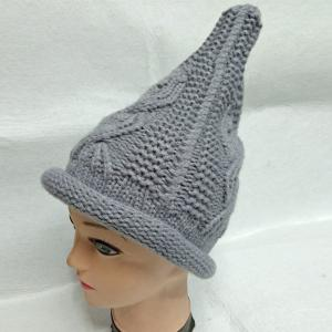 Crochet Cable Knit Small Pointed Hat - GRAY