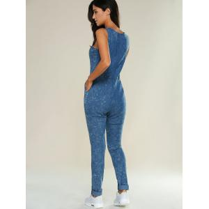 Drawstring Design Ripped Denim Jumpsuit -